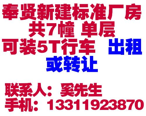 上海奉贤区青村镇15000平方米新建标准厂房出租、转让(部份在建)